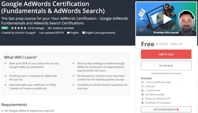 [100% Off] Google AdWords Certification (Fundamentals & AdWords Search)| Worth 199,99$