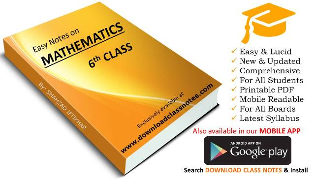 Mathematics Notes for 6th Class for Islamabad Model Schools & Colleges