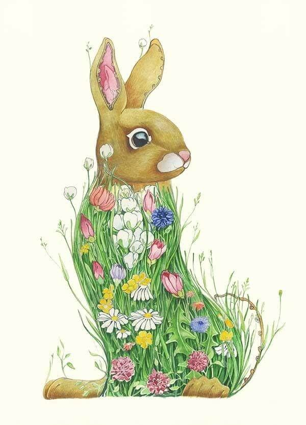 11-Bunny-in-a-Meadow-Daniel-Mackie-Flora-and-Fauna-Watercolour-illustrations-www-designstack-co
