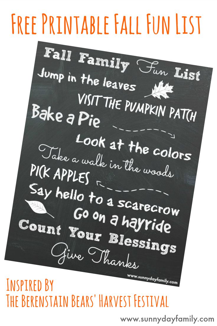 "Free printable 8x10 Fall Family Fun list! Plus a review of the new Berenstain Bears' book ""Harvest Festival"""