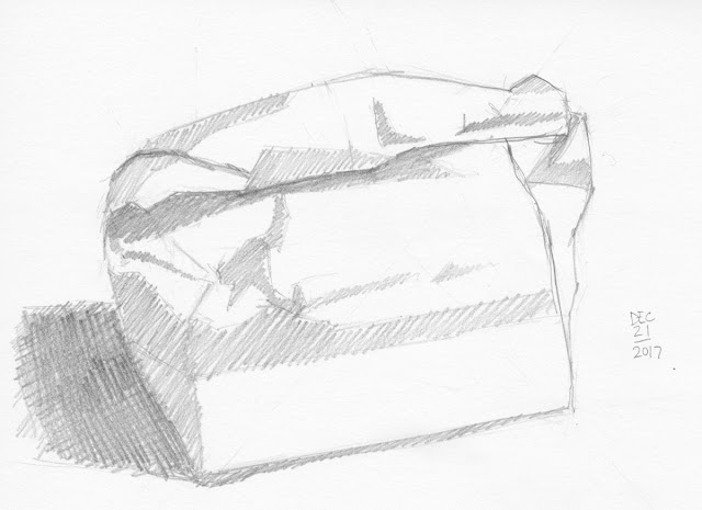 Daily Art 12-21-17 still life sketch in graphite number 79 - paper bag