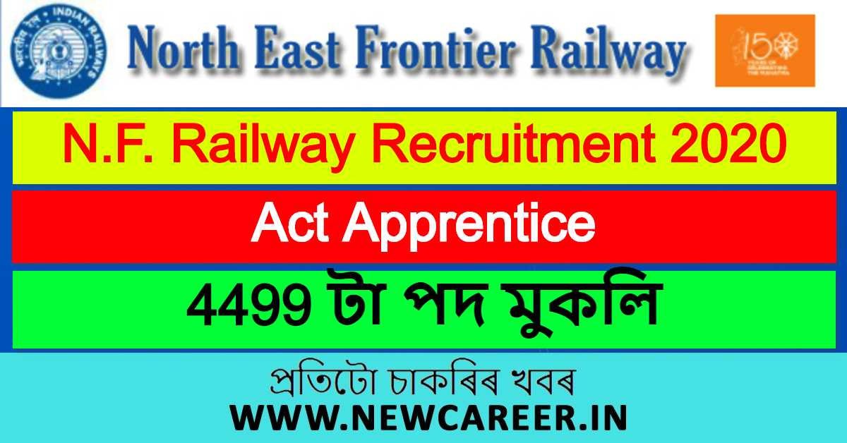 N.F. Railway Apprentice Recruitment 2020: Online Application For 4499 Vacancy