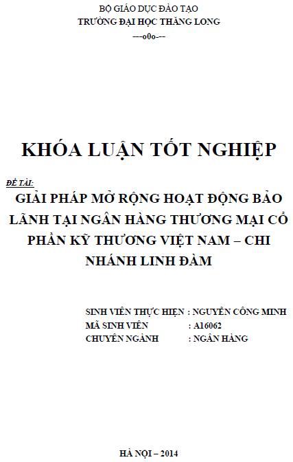 Giải pháp mở rộng hoạt động bảo lãnh tại Ngân hàng Thương mại Cổ phần Kỹ thương Việt Nam Chi nhánh Linh Đàm