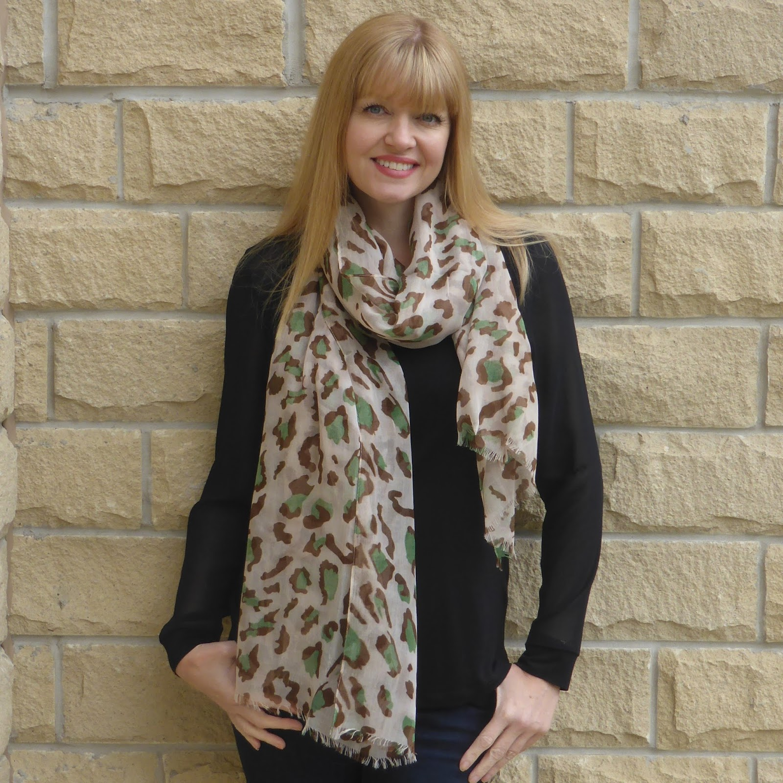 Leopard print scarf, www.lizzyo.co.uk