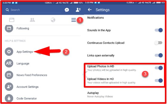 how to upload hd video to facebook from android