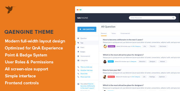 Free download latest version of QAEngine V1.6 - Question and Answer WordPress Theme