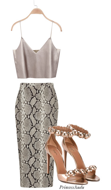 snakeskin skirt, single sole heels