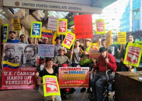 Marchan en apoyo a Venezuela en Vancouver, Canadá