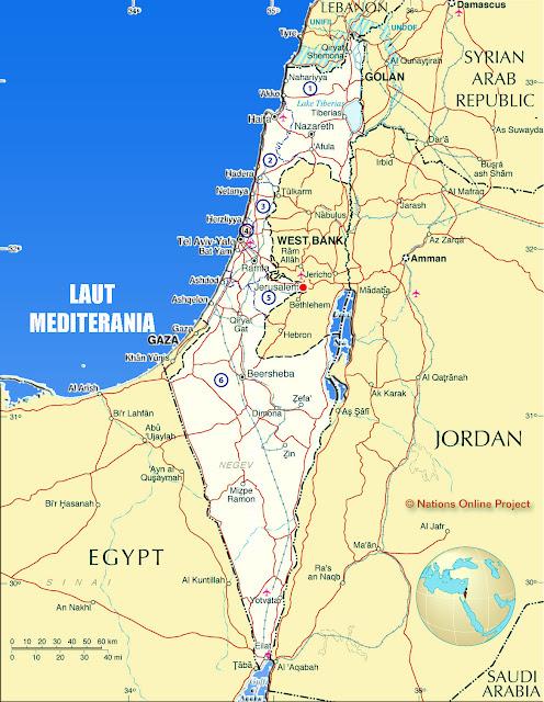 Gambar Peta Negara Israel HD