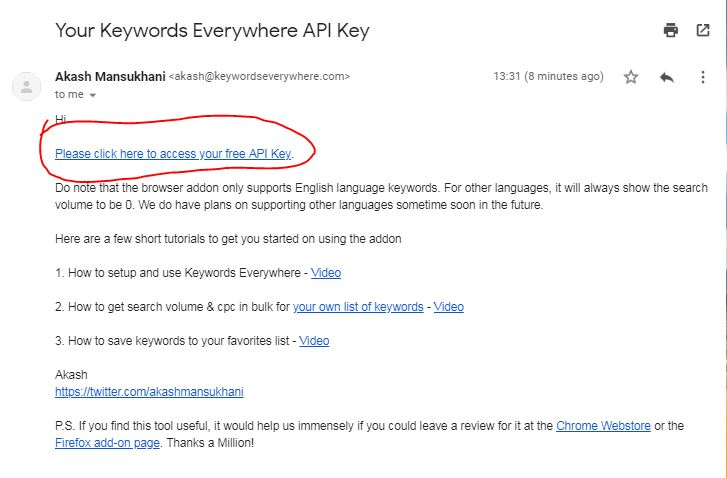 keywords everywhere email