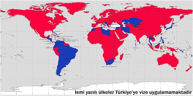 vizesiz gidilebilinen ülkeler haritası