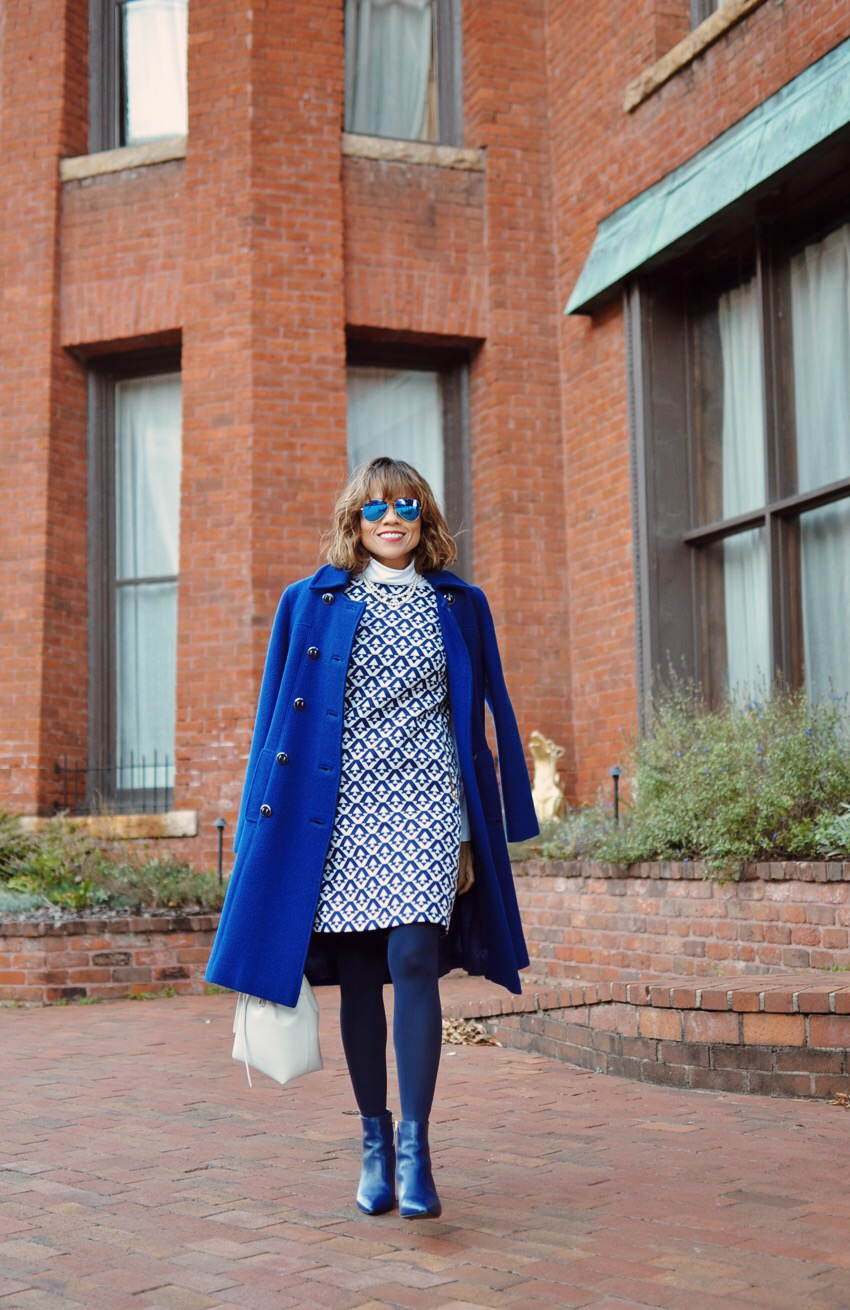 Blue With White Street Style