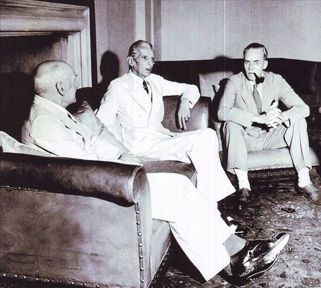 Muhammad Ali Jinnah with Sir Stafford Cripps and Lord Pethick Lawrence - 1946