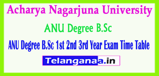 ANU Degree B.Sc 1st 2nd 3rd Year Exam Time Table 2019