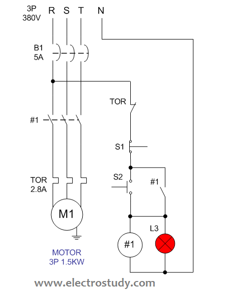 Wiring diagram single motor with Start - Stop switch | ElectroStudyElectroStudy