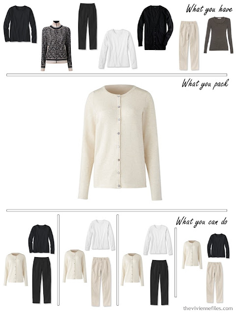 adding a beige cardigan to a black, white and beige travel capsule wardrobe