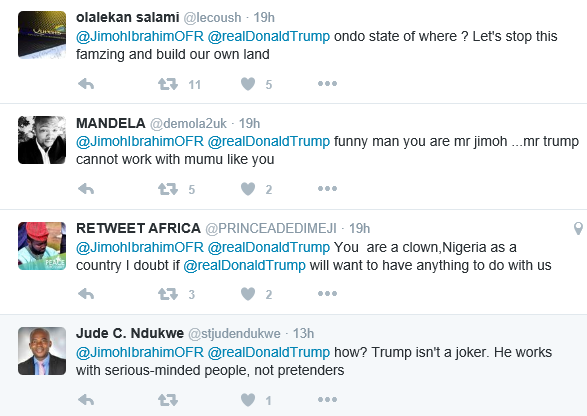 Jimoh Ibrahim under fire for looking forward to working with Donald Trump to make Ondo state better