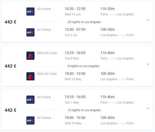 Flight deal Paris to Los Angeles direct flights Air France Delta Air lines
