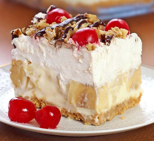 No Bake Banana Split Dessert #delicious #cake