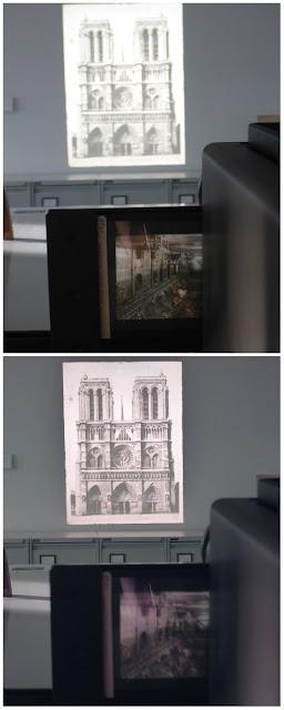 Alte Dias an der Wand und im Projektor