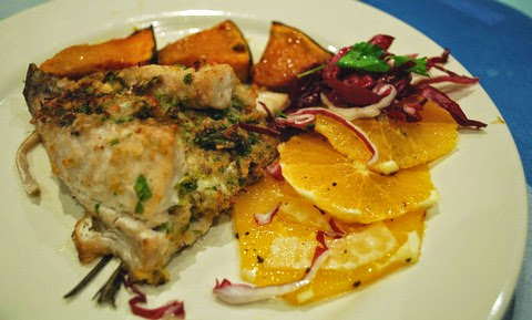 Stuffed Trevally with Orange and Radicchio Salad