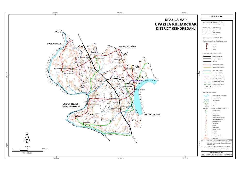 Kuliarchar Upazila Map Kishoreganj District Bangladesh