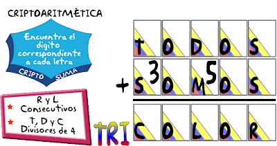 Criptoaritmética, Alfamética, Criptosumas, Problemas Matemáticos, Problemas para pensar, Acertijos matemáticos, Problemas de Ingenio, Problemas con solución