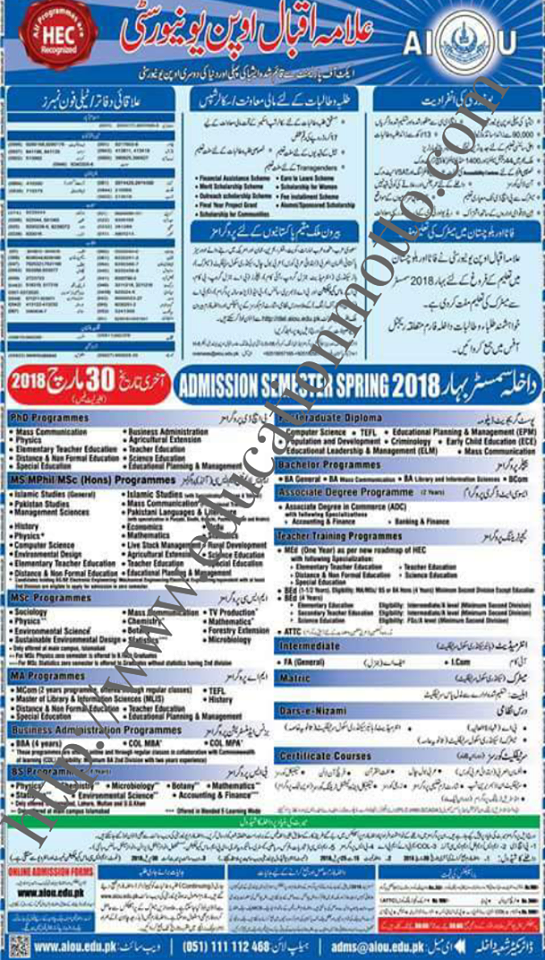 AIOU Admission 2018, BSC Programs, For Continue Students Admission Method, List of Program, MA Program, Method of Applying, MSC | M.Ed. Program,
