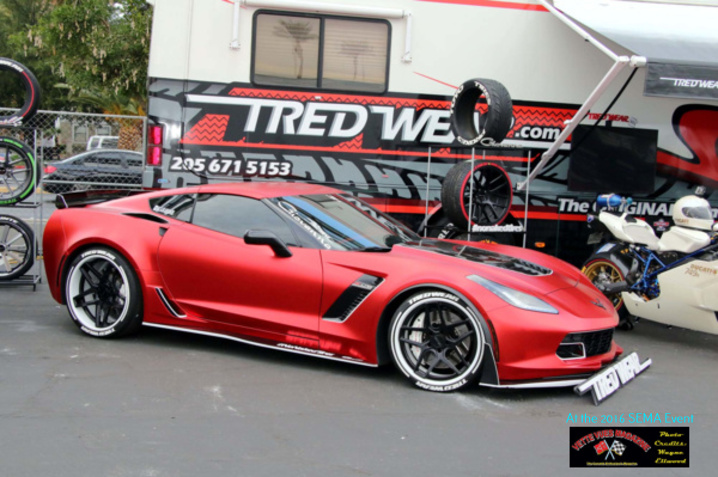 TREAD WEAR TIRES LOGOS displayed a C7 Corvette with Red Chrome Wrap