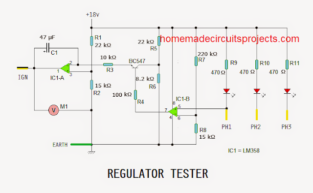 automotive regulator tester circuit