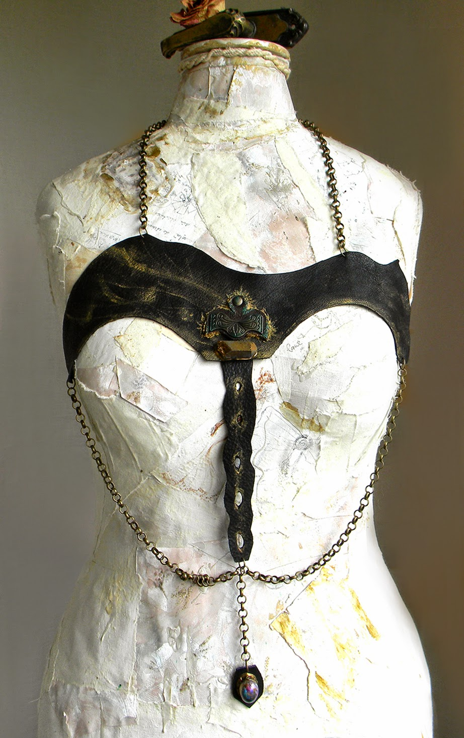 Sexy Leather Harness Statement Body Jewelry with Bronze Chains and Natural Crystal Quartz Applique