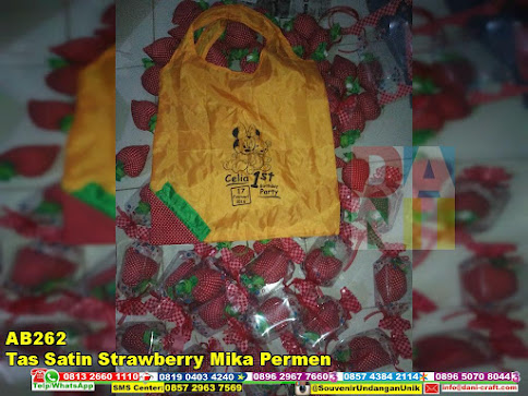 jual Tas Satin Strawberry Mika Permen