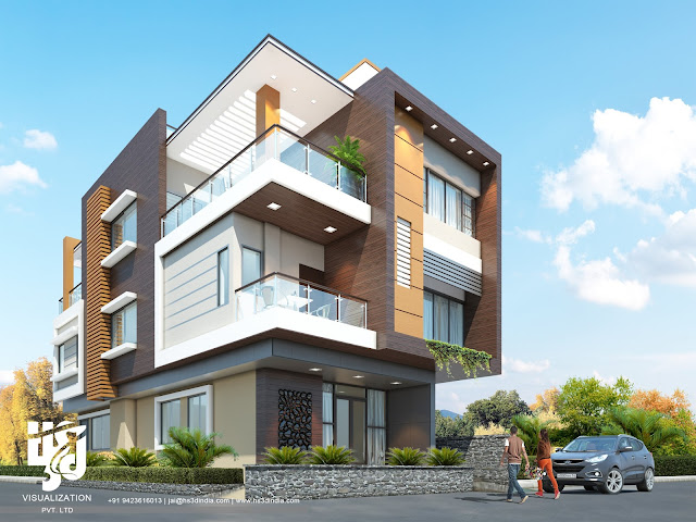 luxury apartments exterior. 3D LUXURY APARTMENT EXTERIOR ELEVATION DESIGN DAY RENDERING ARCHITECTURAL VISUALIZATION  RENDERINGS