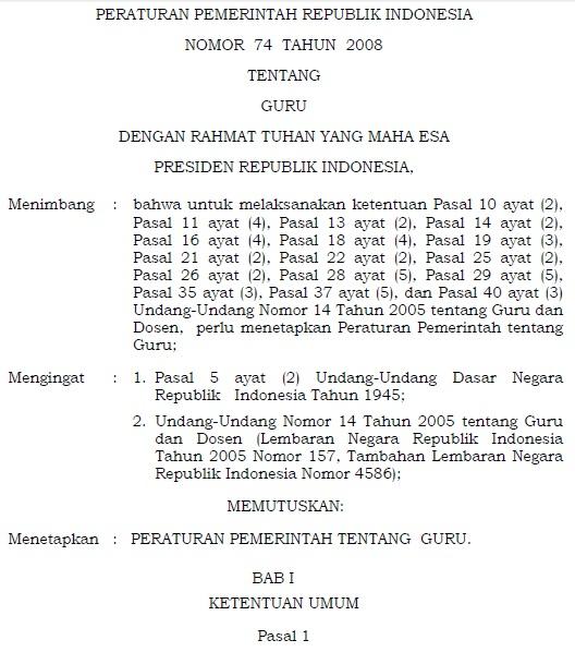 Peraturan Pemerintah (PP) Nomor 74 Tahun 2008 tentang Guru