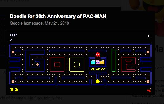 Google S Pac Man Card