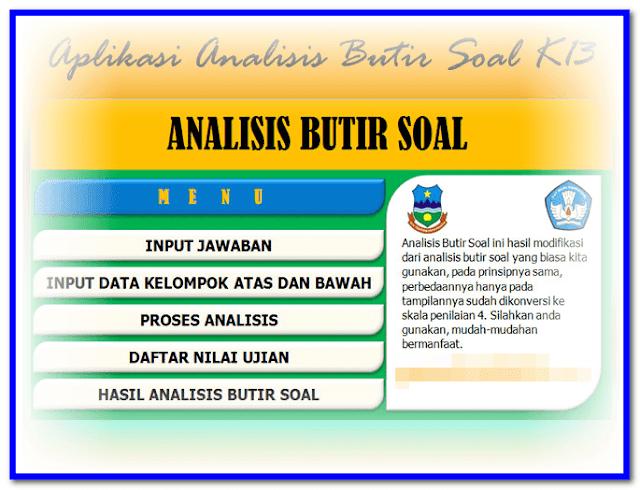Aplikasi Analisis Butir Soal Uraian Pilihan Ganda Kurikulum 2013 Plus KTSP SD SMP SMA