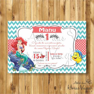 convite digital aniversário infantil personalizado artesanal festa aniversário 1 aninho chá de bebê fraldas a pequena sereia Ariel azul vermelho carmim
