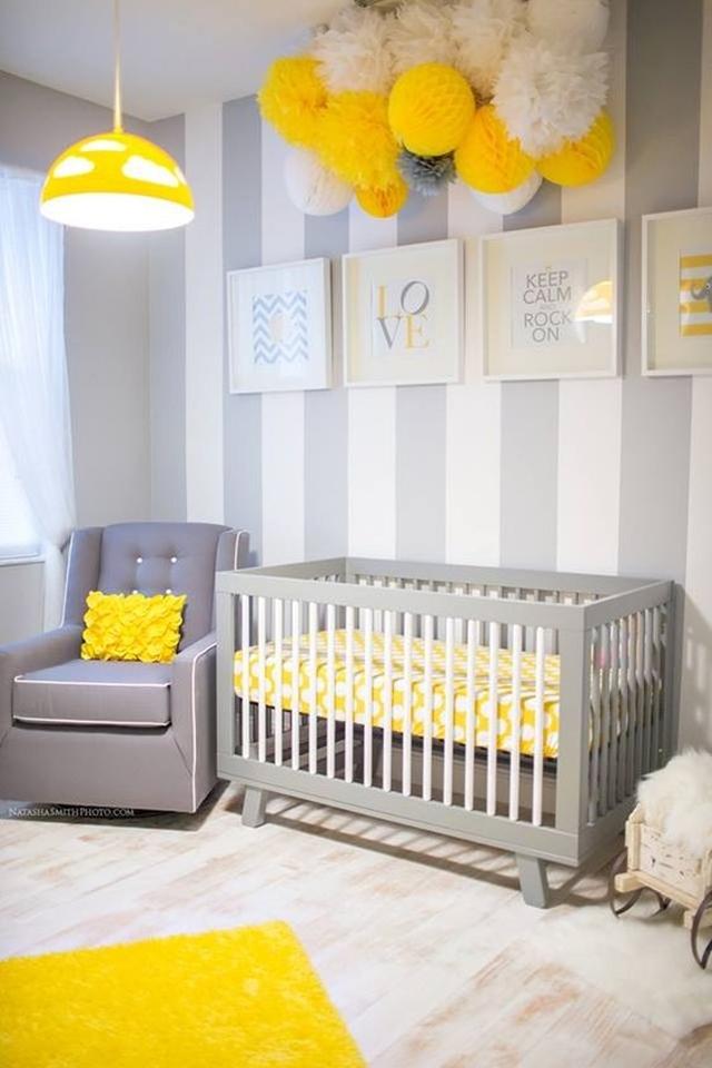 szaro-żółty pokój dla dziecka