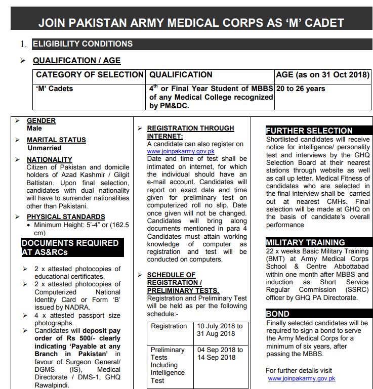 Join Pak Army MEDICAL CORPS as M CADET 2018 - Naya Pakistan