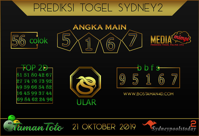 Prediksi Togel SYDNEY 2 TAMAN TOTO 21 OKTOBER 2019