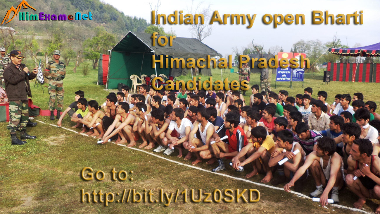Indian Army Open Recruitment Rally October 2015 for Himachal Pradesh