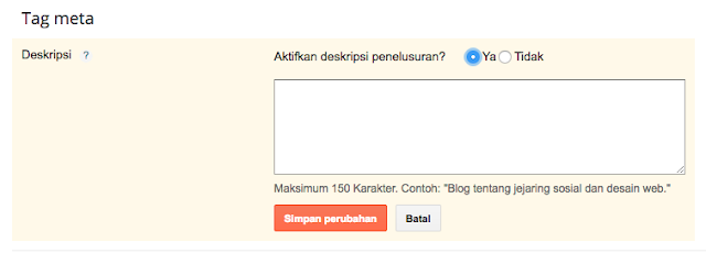 cara mengaktifkan search description blogger