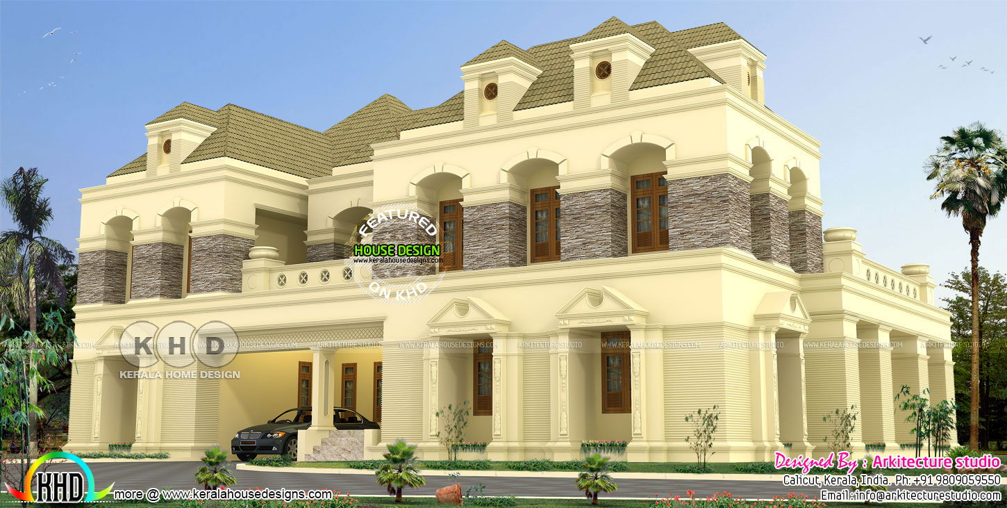 4300 square feet colonial type 5 bedroom house Kerala home design