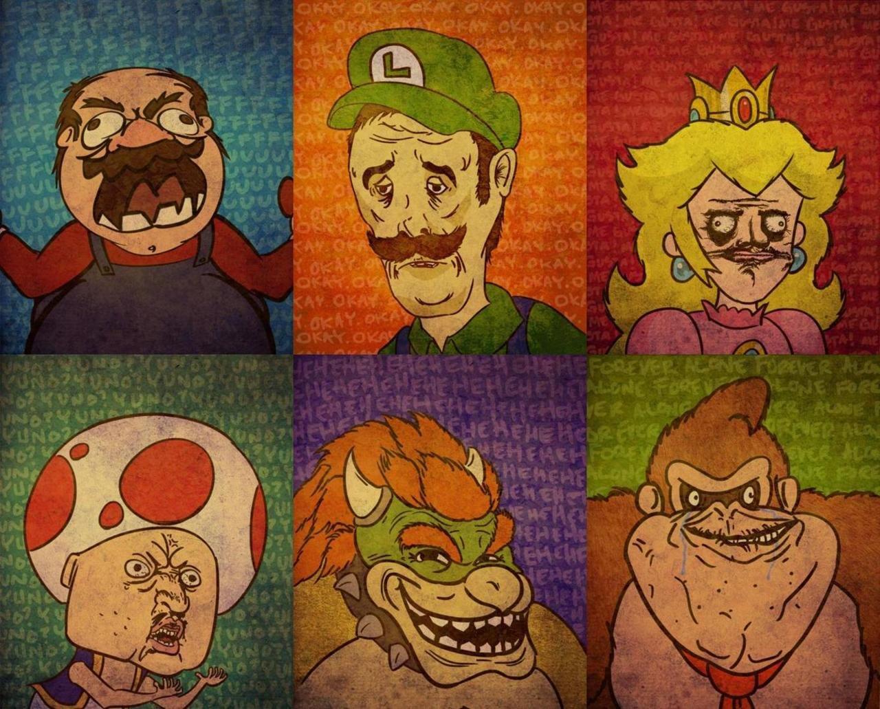 meme mario super bros rage memes face peach kong princess donkey funny faces bowser luigi troll characters gusta toad nintendo