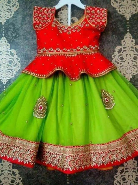 Kundan Kids Lehenga Long Blouse