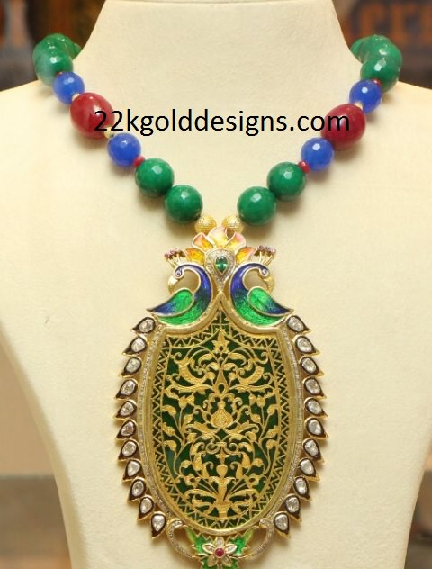 Color Beads Chain with Contemporary Peacock Pendant