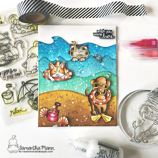 Wish You Were Here Card by Samantha Mann | Corgi Beach Stamp Set, Dog Days of Summer Stamp Set, Newton's Summer Vacation Stamp Set, Land Borders Die Set and Sea Borders Die Set by Newton's Nook Designs #newtonsnook #handmade