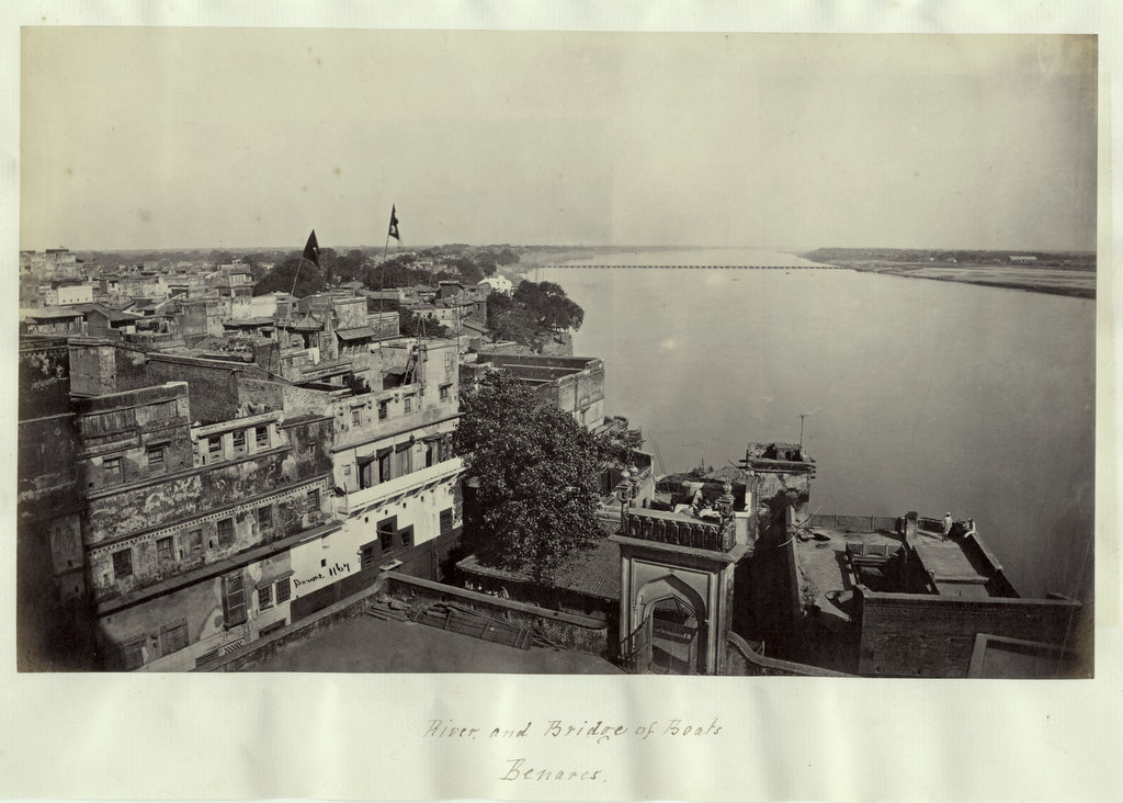 Ganges River and Bridge of Boats - Benares (Varanasi) 1860's
