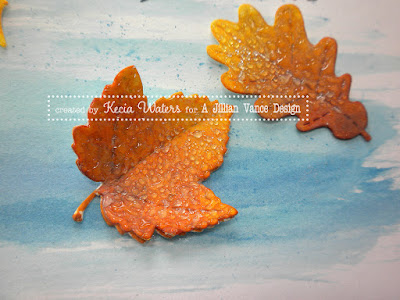 leaves, Kecia Waters, water droplets, glue stick