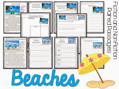 Beaches paired passages for the summer- summer reading activities for june and july